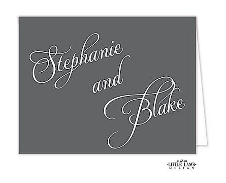 Grey Calligraphic Names Notecard