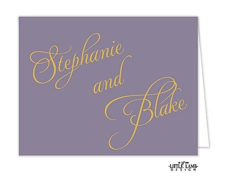 Lavender Calligraphic Names Notecard