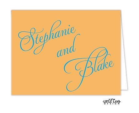 Peach Calligraphic Names Notecard