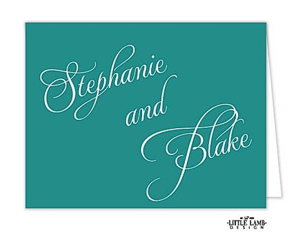 Teal Calligraphic Names Notecard
