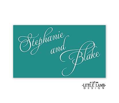 Teal Calligraphic Names Enclosure Card