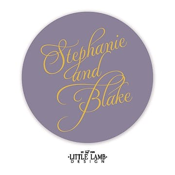 Lavender Calligraphic Names Gift Sticker