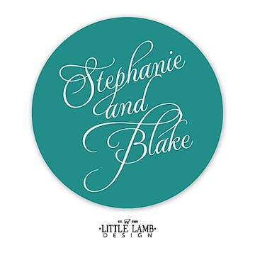 Teal Calligraphic Names Gift Sticker