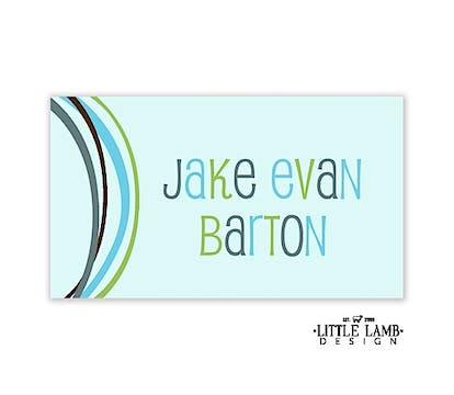 Blue Curved Bands Gift Sticker