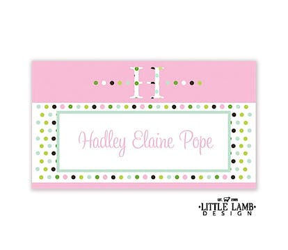 Bubblegum pink dotted initial enclosure card