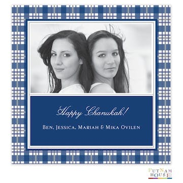Blue Holiday Square Flat Photo Card