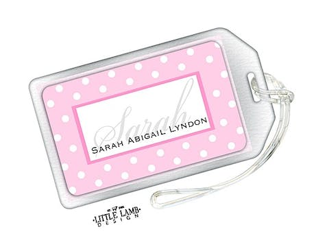 Pink and White Dots Luggage Tag