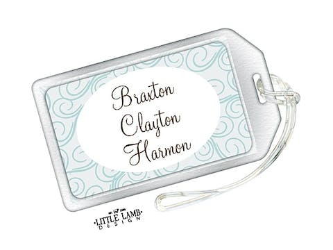 Blue Swirls Luggage Tag