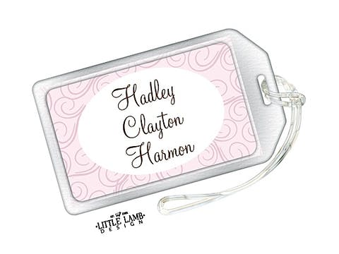 Pink Swirls Luggage Tag