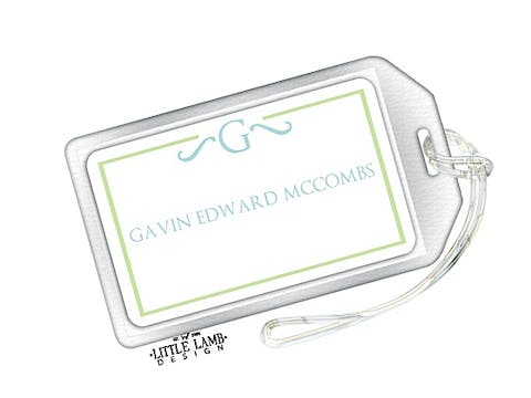 Green and Blue Initial Luggage Tag