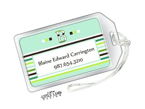 Green striped luggage tag
