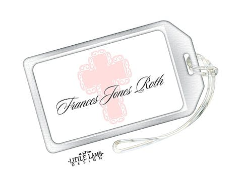 Pink Cross Luggage Tag