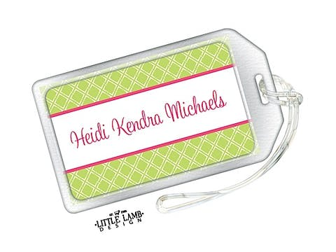 Hot pink and lime green luggage tag