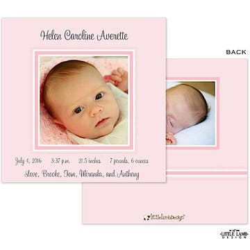 Pink Frame Girl Photo Square Birth Announcement