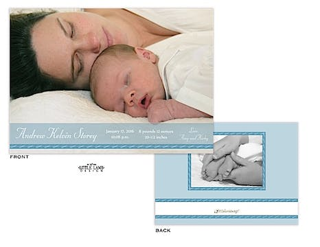 Blue Band Boy Photo Birth Announcement