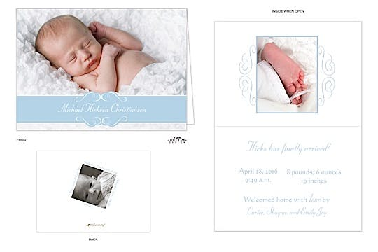 Lovely Band 5x7 Boy Photo Birth Announcement