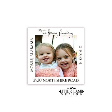 White Border Photo Square Return Address Label
