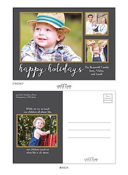 Gray And Gold Happy Holidays Flat Photo Postcard