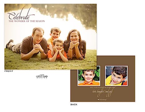 Full bleed Holiday Flat Photo Card with 2 optional Flat Photos on the back