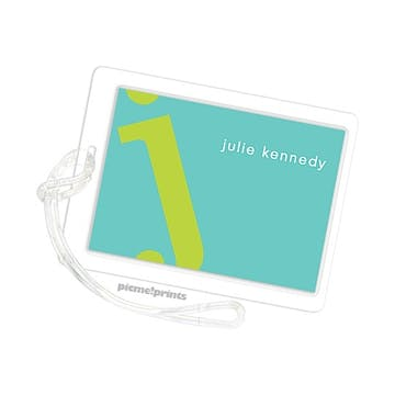 Alphabet Chartreuse On Turquoise Id Tag