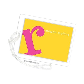 Alphabet Hot Pink On Sunshine Id Tag