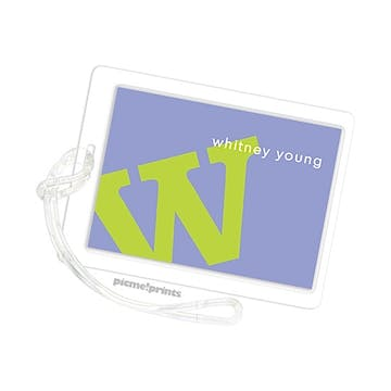 Alphabet Chartreuse On Periwinkle Id Tag