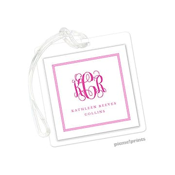 Pinstripes Hot Pink Id Tag