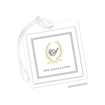 Laurel Wreath Mustard Id Tag