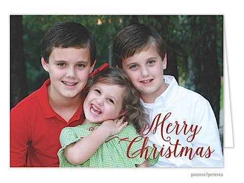 Merry Christmas Script Holiday Folded Photo Card