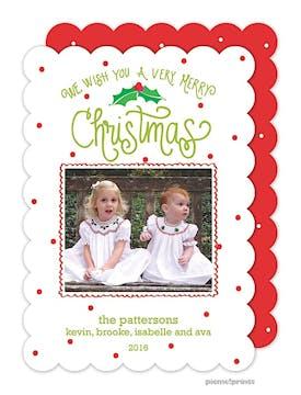 Christmas Holly & Dots Holiday Flat Photo Card