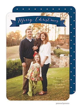 Banner Christmas Navy Holiday Flat Photo Card