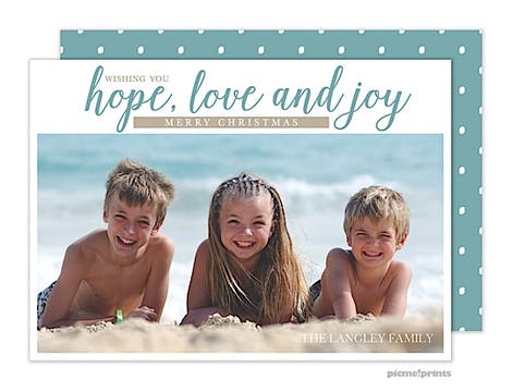 Hope, Love & Joy Aqua Holiday Flat Photo Card
