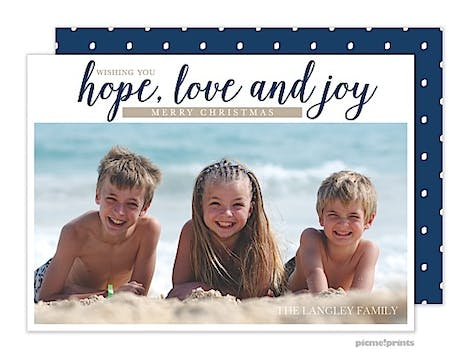 Hope, Love & Joy Navy Holiday Flat Photo Card