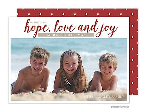 Hope, Love & Joy Crimson Holiday Flat Photo Card
