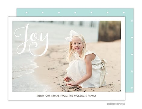 Simply Joy Aqua Horizontal Holiday Flat Photo Card