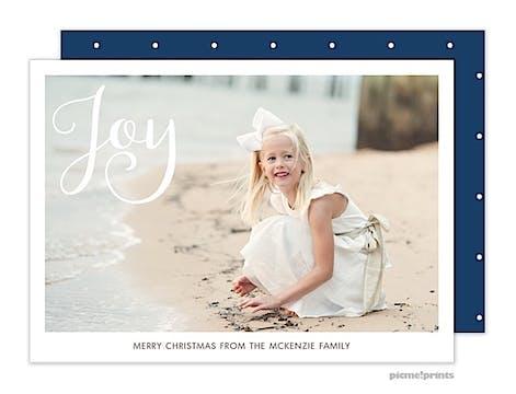Simply Joy Navy Horizontal Holiday Flat Photo Card