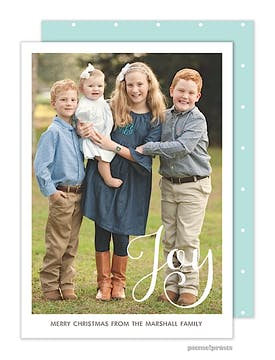Simply Joy Aqua Vertical Holiday Flat Photo Card