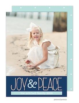 Joy & Peace Navy Holiday Flat Photo Card