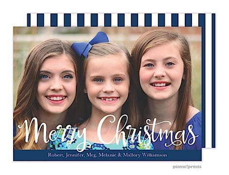 Merry Christmas Stripes Navy Holiday Flat Photo Card