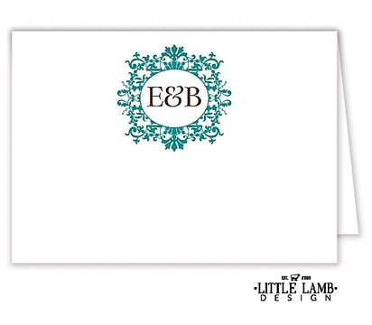 Graceful Teal Frame Placecard
