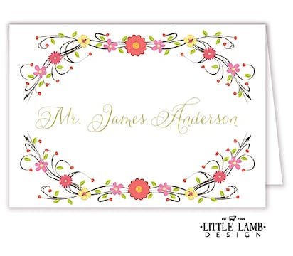 Floral Vine Place Card