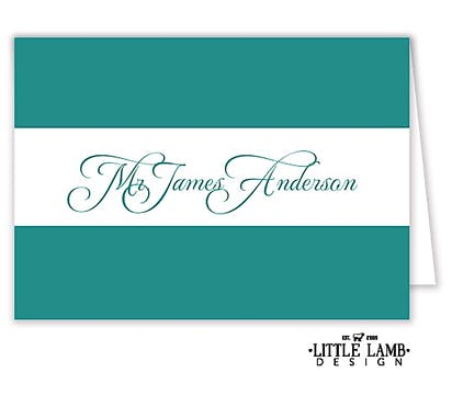 Teal Calligraphic Names Placecard