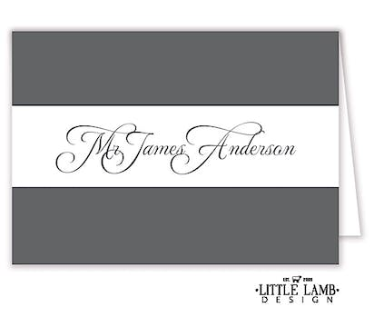 Grey Calligraphic Names Placecard