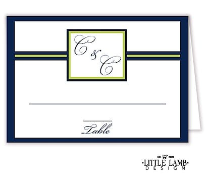 Initial or Monogram Navy Placecard