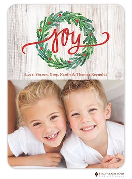 Joyous Wreath Holiday Flat Photo Card