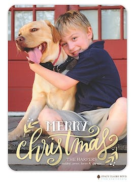 Shimmering Christmas Holiday Flat Photo Card in