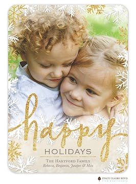 Champagne Sparkle Holiday Flat Photo Card