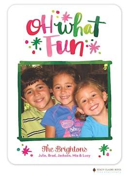 Watercolor Fun Holiday Flat Photo Card