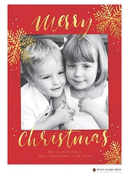 Shiny Snow Holiday Flat Photo Card in