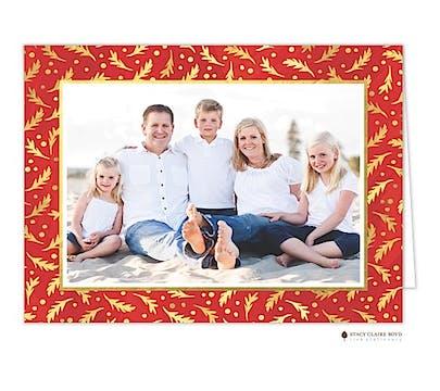 Framed Foliage Holiday Folded Photo Card